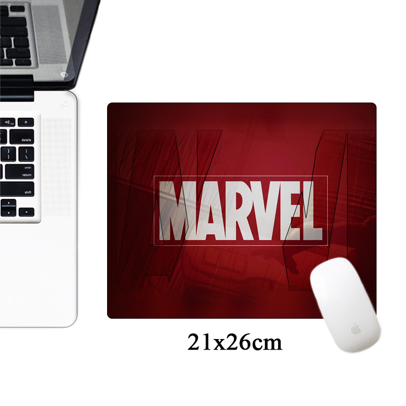 SIANCS 21x26cm Marvel Comics Logo Mousepad Iron Man Anime Computer Gaming Mouse Pad Small Size Office Rubber Laptop Desk Mat