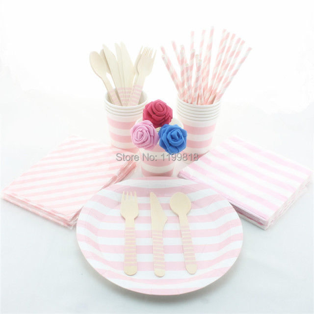 100 Sets Pink Green Blue Red Striped Party Supplies Tableware Eco-friendly Wedding Paper Plates  sc 1 st  AliExpress.com : pink and blue paper plates - pezcame.com