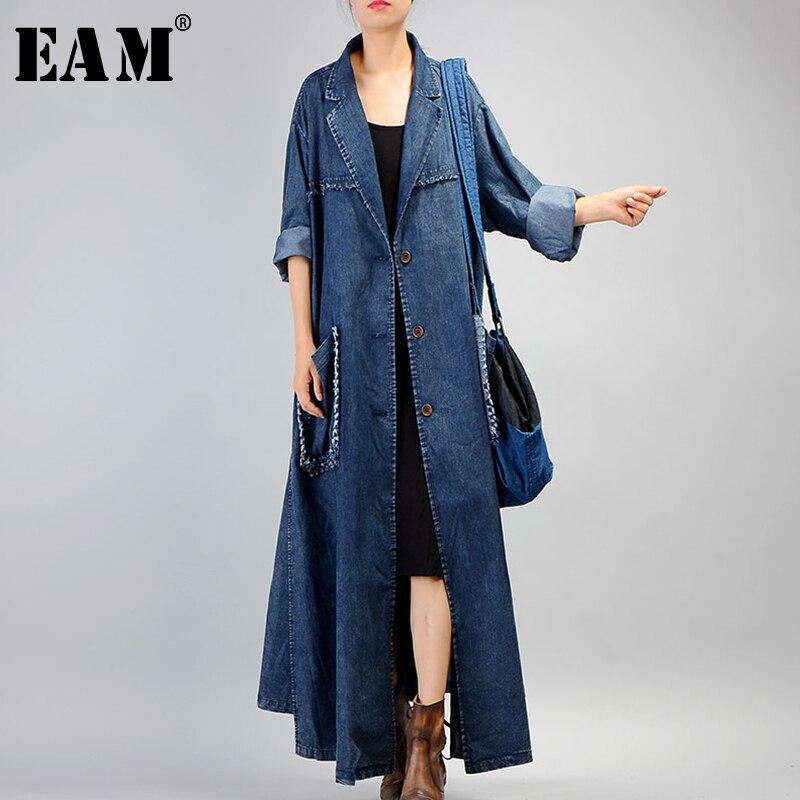 [EAM] 2019 Nouvelle Automne Femmes Revers Manches Longues Unique Poitrine Couture Double Poches Loong Lâche Coupe-Vent Veste De Mode QE2