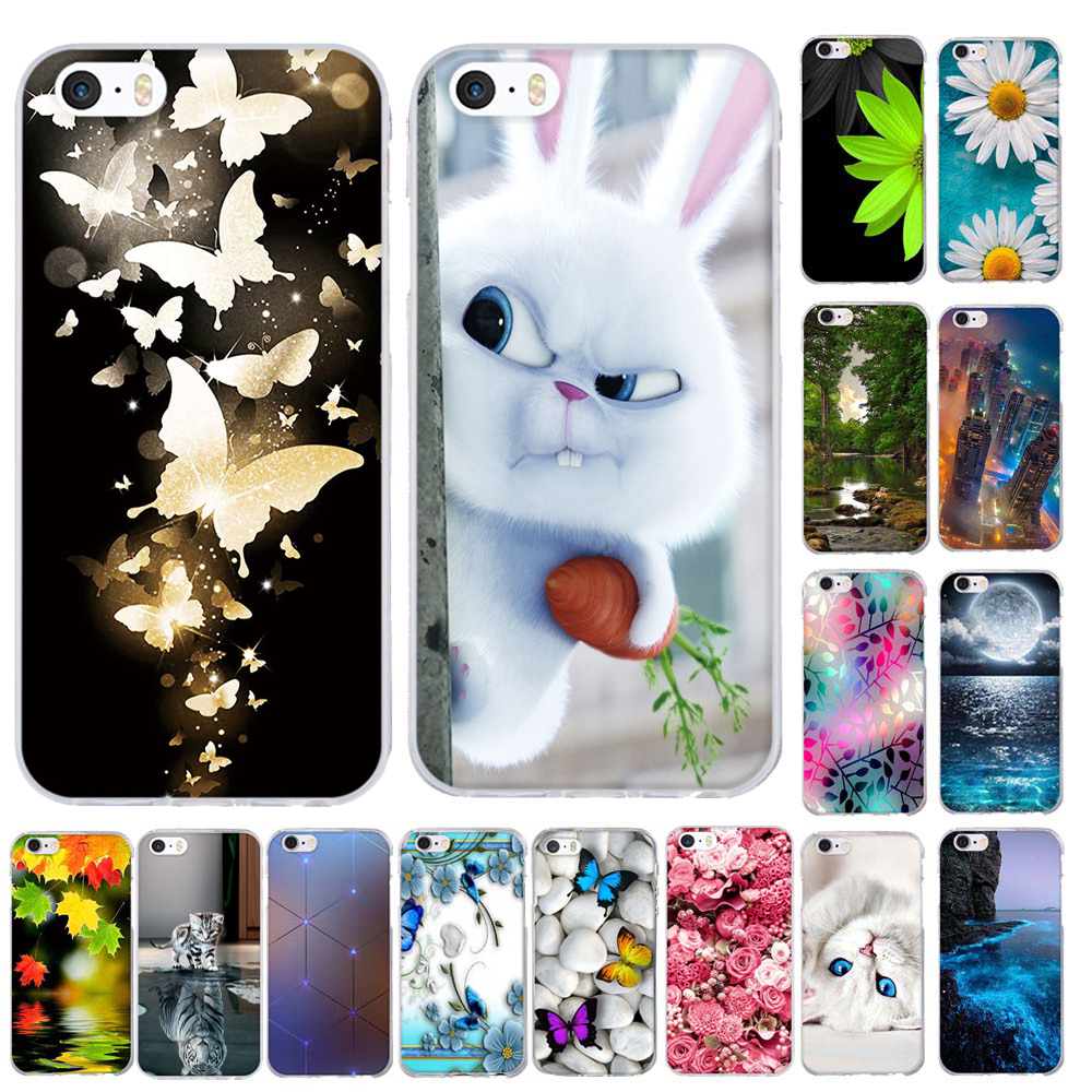 Silicone Cases for iphone 6 6s 7 Phone Case For iPhone 5 5S SE Case 3D Pattern S