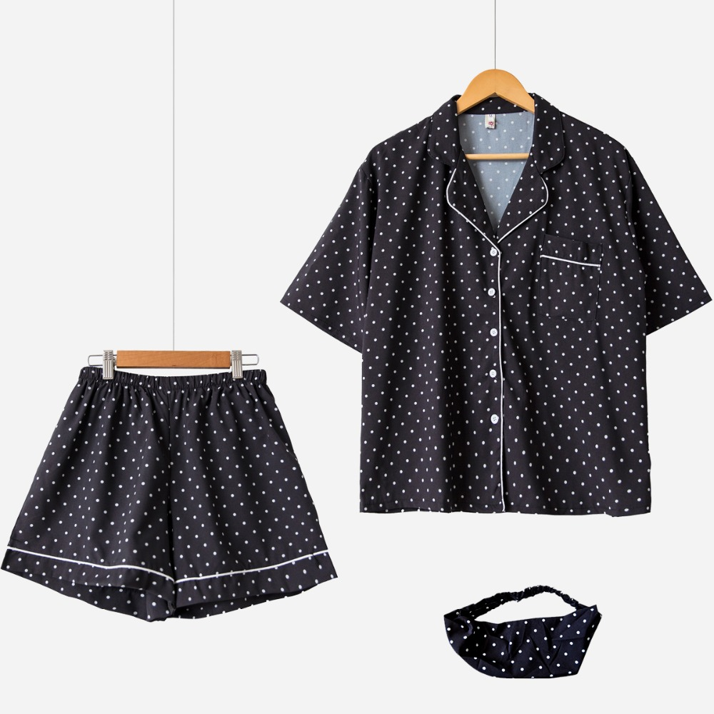 Sweet Polka Dot   Pajama     Sets   Women Cute 3 Pieces   Set   Short Sleeve Top + Shorts Elastic Waist + Hair Band Loose Homewear S76503