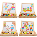 Modern Multifunctional Drawing Writing Board Magnetic Puzzle Double Easel Wooden Toy Baby Kids Game wholesale