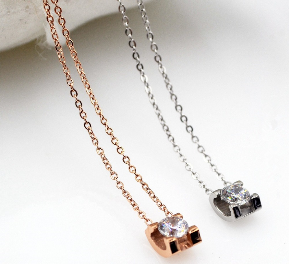 HFYK 2018 nice cubic zirconia square pendant necklace for women rose gold silver color stainless steel necklace crystal necklace