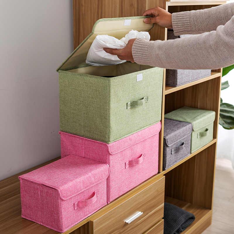 Cotton Linen Fabric Folding Storage Box Kids Toy Organizer Wardrobe Bin Drawer Plastic Container Organizador Maquillaje