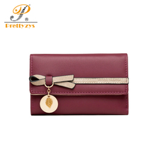 Women Wallet Female Leather Purses Bow Leaf Cateria Short Middle Long Card Holder Small Monederos Para Mujer Cartera Billetera