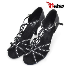 Evkoodance Black Tan New Arrival Size US 4-12 Latin Dance Shoes For Ladies Professional  With 8 cm High Heel Evkoo-065