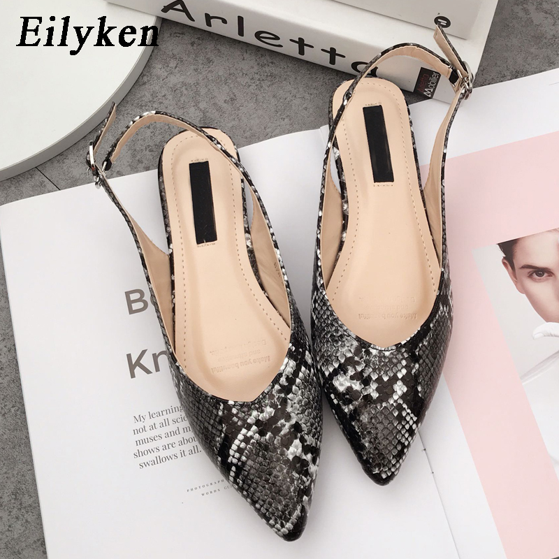Eilyken Women PU Leather Pointed Toe Sandals Buckle Strap Ladies Flats Casual Shoes Female Zapatos Mujer SerpentineEilyken Women PU Leather Pointed Toe Sandals Buckle Strap Ladies Flats Casual Shoes Female Zapatos Mujer Serpentine