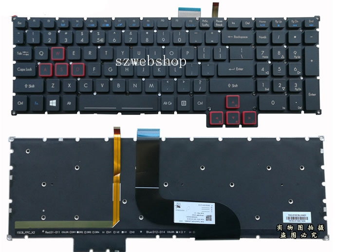 17 New for Acer Predator G9-591 G9-591R G9-592 G9-593 US laptop Backlit Keyboard Black new us laptop keyboard for acer predator 17 15 g9 791 g9 791g g9 591 g9 591g g9 591r us keyboard