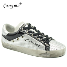 CANGMA Italy Original Women Sneakers Casual Shoes Autumn Silver Black Basse Patent Leather Flats Girls Shoes Plus Size Sapateira