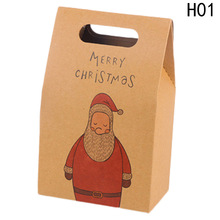 Paper Gift Bags Retro Elk Pattern Santa Claus Packing Gift Bags Christmas Party Wedding Marriage Candies Cookie Packaging Bags