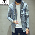 Good Quality 17 Letter Print Mens Hooded Denim Jacket New Fashion 2016 Autumn Winter Mens Jeans Jackets and Coats blue