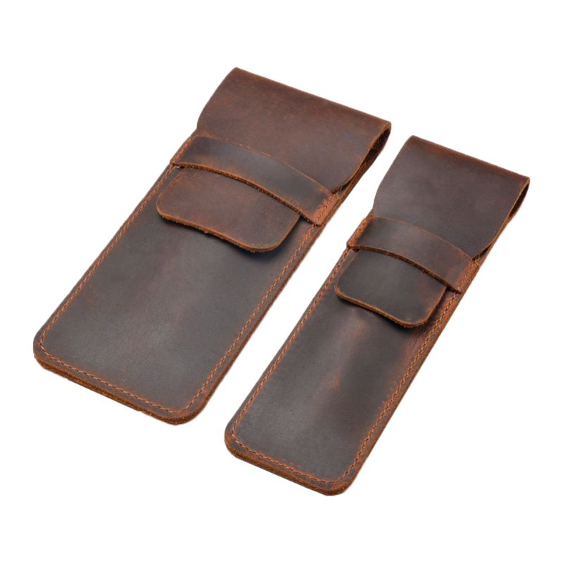 Retro Leather Pen Holder Brown Fountain Pen Pouch Pencil Holder Handmade Ballpoint Pen Protective Sleeve Cover For Office Home