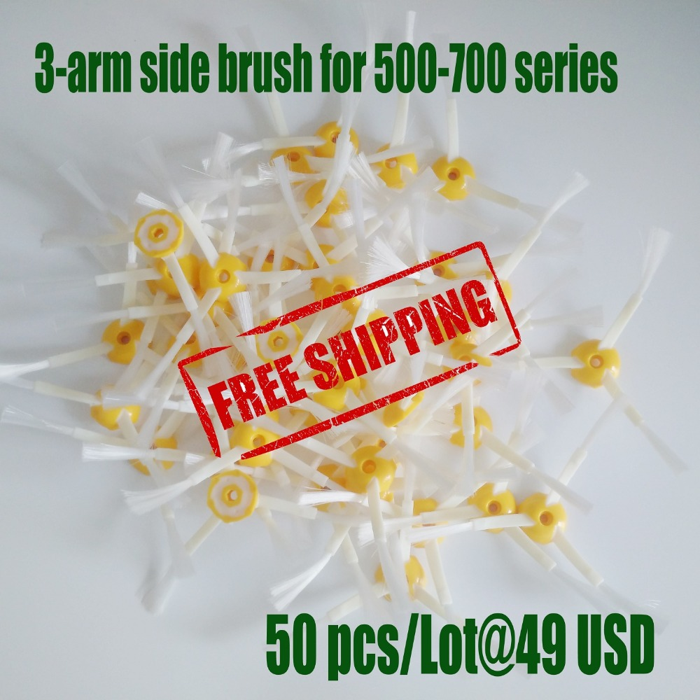 50pcs/lot 3-arm side brush for irobot Roomba 500 600 700 series Vacuum cleaner 3 arm side brush