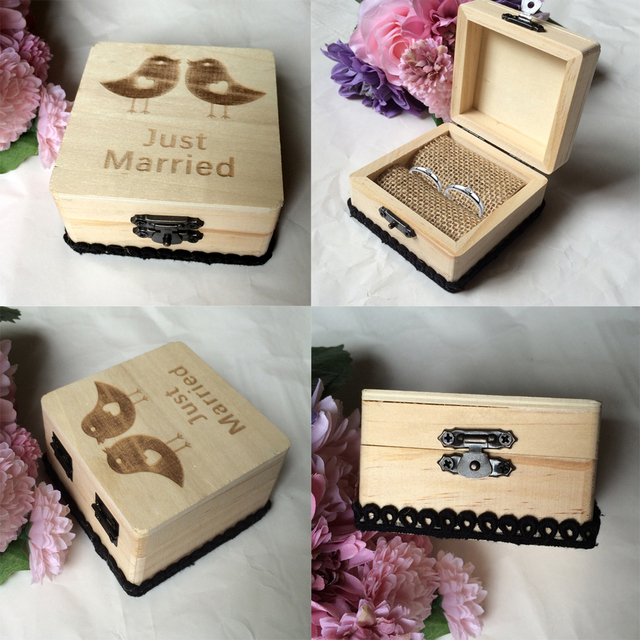 New Hot Vintage Wooden Box Ring Holder Gift Bearer Wedding Favor Diy Party