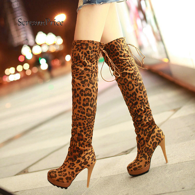 Ladies Sexy Leopard Thin High Heel Over The Knee Boots Fashion Lace Up Platform Winter Thigh Boots Black Brown Yellow jialuowei women sexy fashion shoes lace up knee high thin high heel platform thigh high boots pointed stiletto zip leather boots