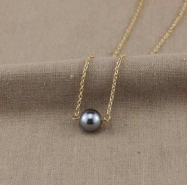 gray simulated pearls chokers necklaces for women snake chain fj607