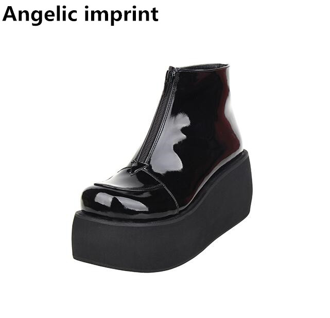 Angelic imprint mori girl Women punk motorcycle boots lady lolita ankle Boots woman high trifle heels