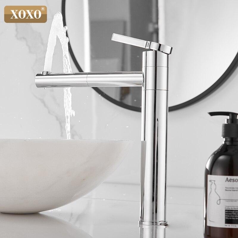 XOXO Basin Faucet 360 Degree Rotate Basin Faucet White Chrome Finish Bathroom Faucets Single Hand Bathroom Faucet 83018