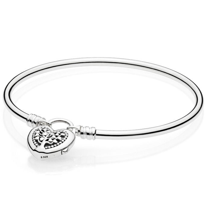 New 925 Sterling Silver Bangle MOMENTS Tree of Life Love Heart padlock Clasp Bracelet Bangle Fit Bead Charm DIY Pandora Jewelry 925 sterling silver bracelet rose logo signature padlock smooth snake bracelet bangle fit bead charm diy pandora jewelry