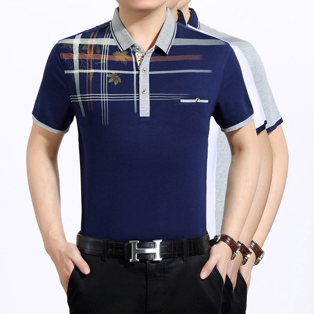 New design summer men's fashion printing short sleeve cotton polo shirt