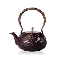 1.2L handmade Chinês Chá panela de ferro Fundido Bule mão pura sem revestimento Pote de Chá Chinês Beber Chaleira de Água Durável China Bule presente