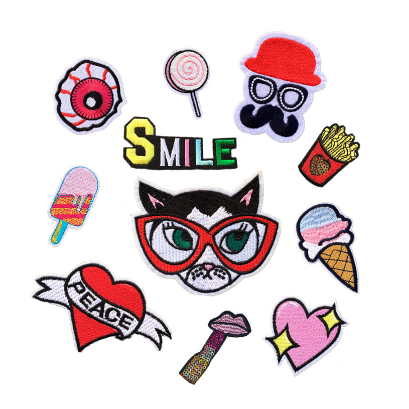 New Cat Head Love Ice Cream Computer Embroidery Cloth DIY Clothing Decoration Trend Cloth Sticker D-019