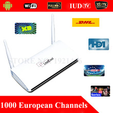 1 Year Subscription 1300 IPTV European Channels TV Box Remote Control Free Android 4.4 WiFi HDMI Smart Android Mini PC TV Box
