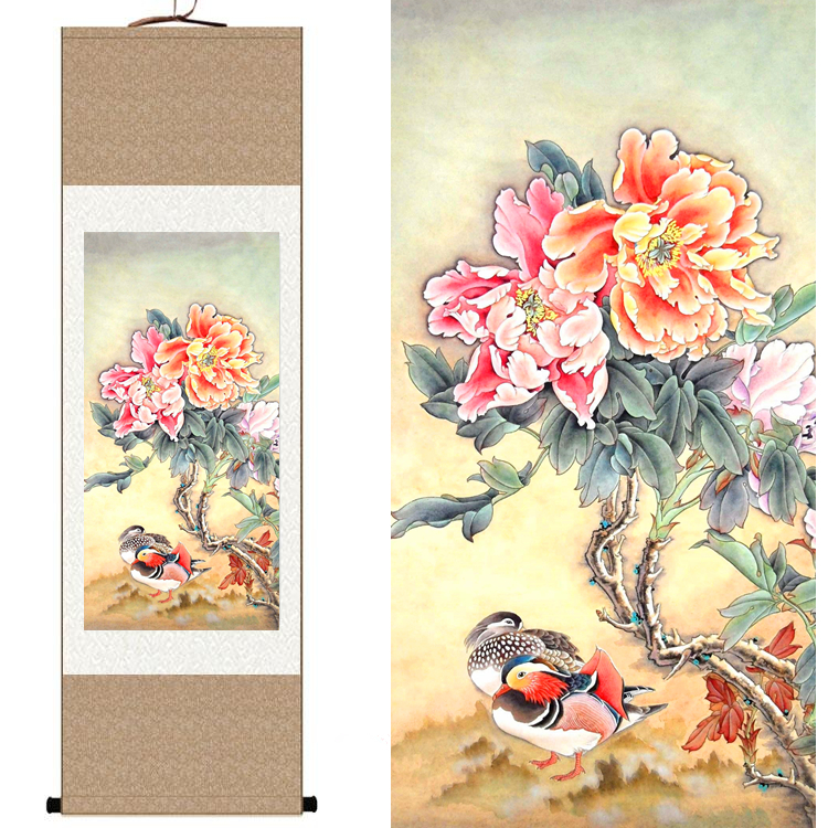 Chinese Silk watercolor flower and birds ink Peony mandarin duck original art canvas wall damask picture