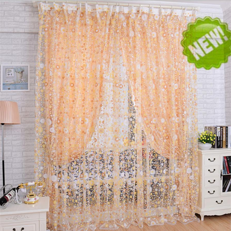 Ouneed Print Floral Voile Door Sheer Window Curtains Room Curtain Divider 100X200CM May15 Drop Shipping