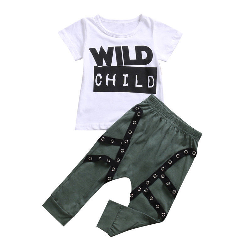 2017 New Kids Boy Clothing Set Summer Wild Child Short Sleeve Cotton T-shirt Tops+Long Harem Pant Children Clothes 2017 new fashion kids clothes off shoulder camo crop tops hole jean denim pant 2pcs outfit summer suit children clothing set