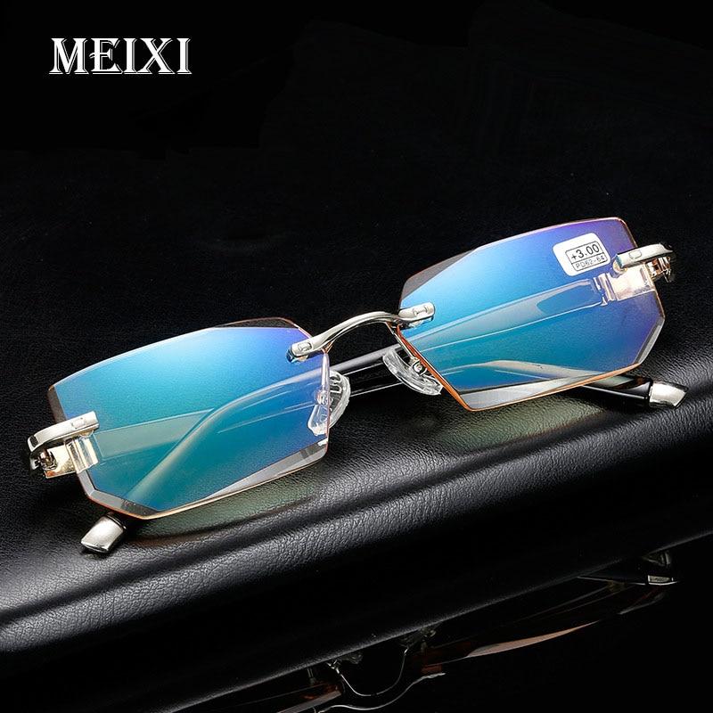2018 New Anti-Blu-ray Reading Glasses Diamond Cutting Metal Rimless H D Reading Glasses Fashion Eyewear +1.5 +2.0 +2.5