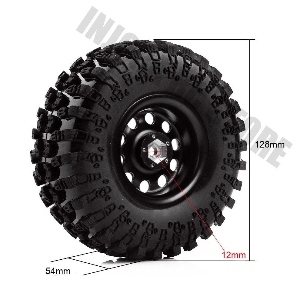 INJORA métal 4 pièces 2.2 pouces Beadlock jante et pneus de roue pour 1/10 RC chenille axiale SCX10 RR10 90053 AX10 Wraith 90056 90045 - 4
