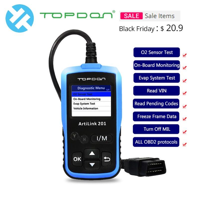 TOPDON ArtiLink 201 AL201 OBD 2 OBD2 Scanner Automotive OBDII Lettore di Codice Auto Strumento di Diagnostica ELM327 AL319 EOBD Cancellare i codici