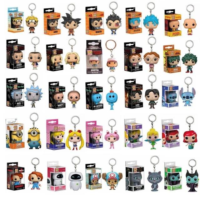 Pop brinquedo Dragon Ball Son Goku Vegeta Chaveiro Naruto One piece Figuras De Vinil Coisas Estranhas Rick E Morty Bolso Pop keychain