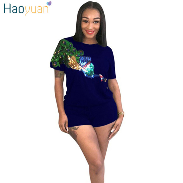 becb36999d78 HAOYUAN Peacock Sequin 2 Piece Set Women Short Sleeve Tops+Shorts Suits  Summer Outfits Casual Two Piece Tracksuit Matching Sets