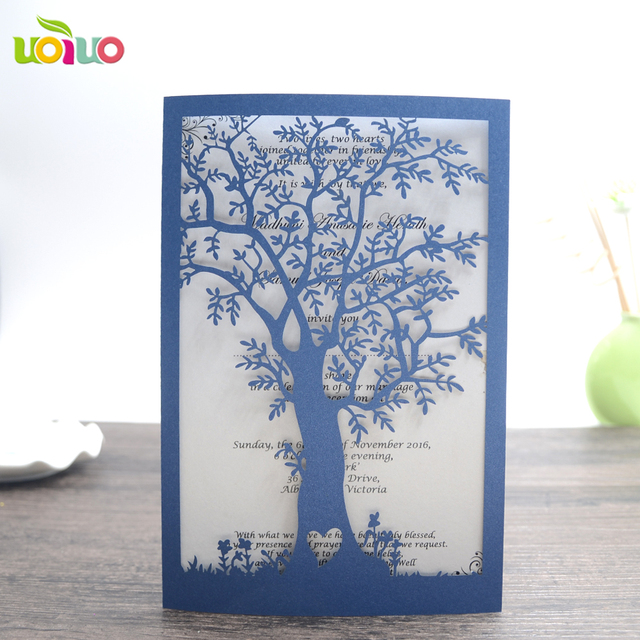 Us 6 7 10pcs Laser Cut Wedding Invitation Cards With Envelopes Blank Inside Paper Seal Love Tree Nepali Marriage Invitation Card In Cards