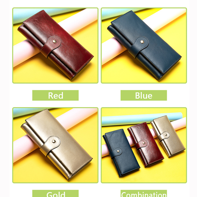 Women's Wallet Made of Genuine Leather Female Long Wallet For Phone/Cards Money bags lady wallets purse