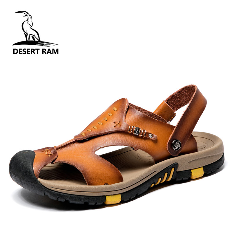 DESERT RAM Brand Cow Leather Safety Toe High Quality Sandals Big Size 38-45 Shoes Men Casual Summer Breathable Beach Sandalias