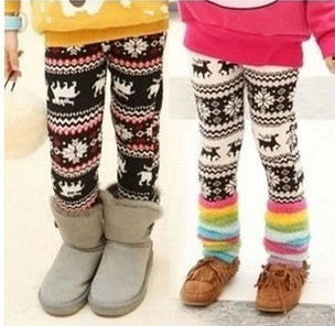 a1e276cdd4da3 New 2014 Winter Child Girls Warm Fleece Leggings Children Cartoon Christmas  Snowflake Leggings Kids Leggings