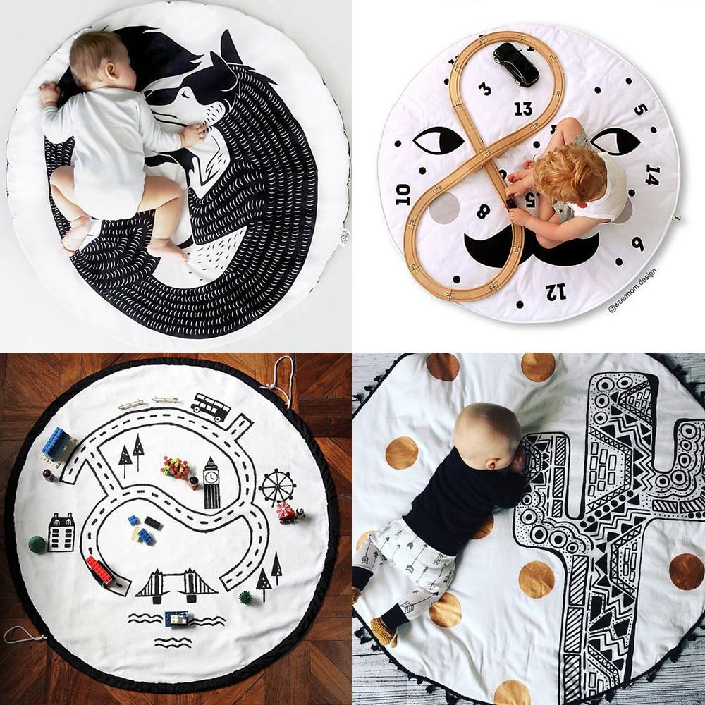 2019 Nieuwste Ontwerp 90 Cm Kids Play Game Matten Ronde Tapijt Tapijten Mat Katoen Pad Kruipen Deken Vloer Tapijt Voor Kinderkamer Decoratie Ins Baby Geschenken