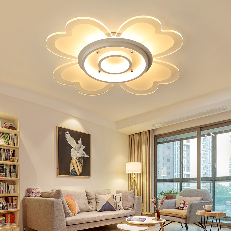 Simple modern LED ceiling lamp flower-shaped white aluminum ceiling lamp living room bedroom study lamparas de techo colgante modern led ceiling lamp aisle simple living room porch balcony study room long lamp