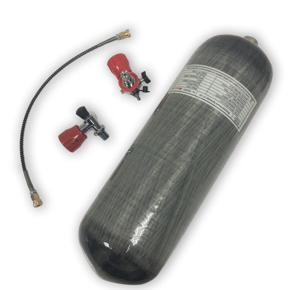 AC109101 4500psi 9L CE 4500Psi fibra de carbono Pcp pistola de aire tanque de cilindro de Gas para Airgun aire comprimido pistolas Envío Directo acecare