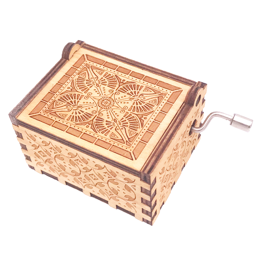 The Lord of The Rings Music Box 18 Note Hand Crank Musical Box Carved Wooden Musical Gifts for Christmas Play Lord of The Rings in Music Boxes from Home Garden