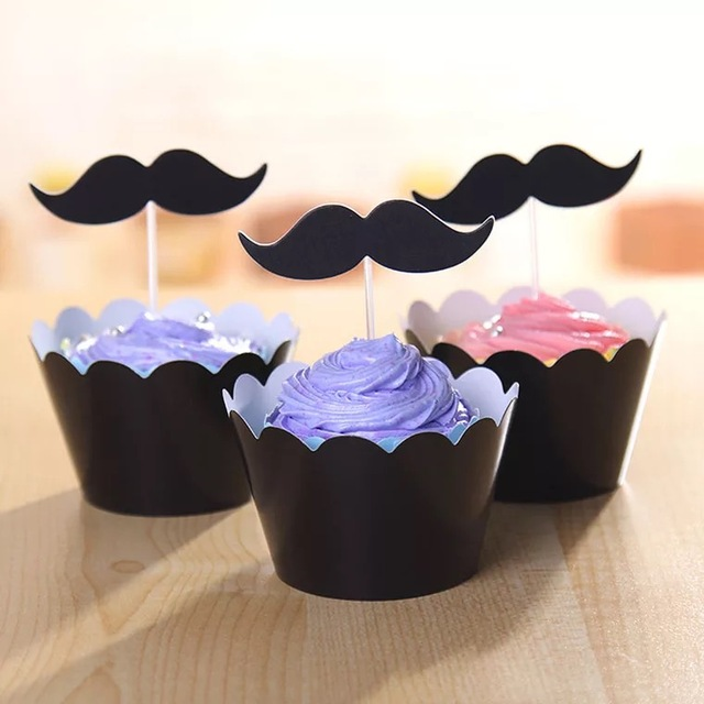 free shipping 120pcslot10bag paper mustache cake wrapper cupcake