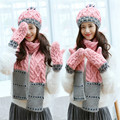 2017 New Arrival Women's Hats Scarves Gloves three - piece warm autumn winter High quality Women Knit Scarf, Hat & Glove Sets
