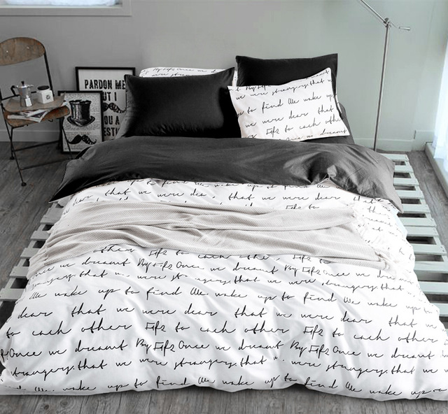 Letter Printing Bedding Sets Duvet Cover Set Linens Ru Usa Size Quilt Yellow