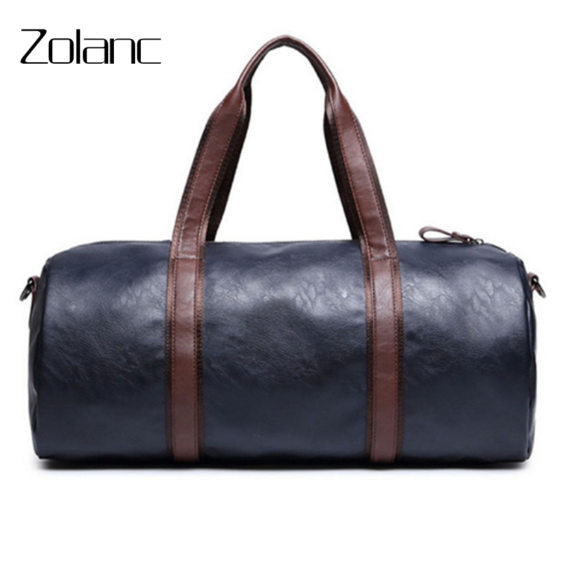 New Trend Leather Travel Bag Fashion Mens Shoulder Casual Bag Black Blue Large Capacity Male Suitcase Soft Travel Duffle