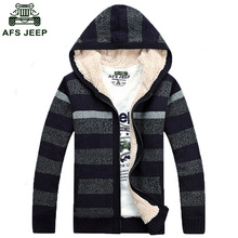 Free Shipping Mens Winter Cardigan Sweater Fur Wool Lining Zip Knitted coat Hooded Warm M-3XL Top Quality 140