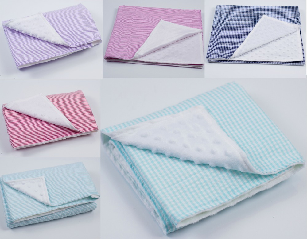 26*30inches High Quality Seersucker Minky Baby Blanket Super Soft And Comfortable Security For Newborn Baby Kid Toddler Blanket