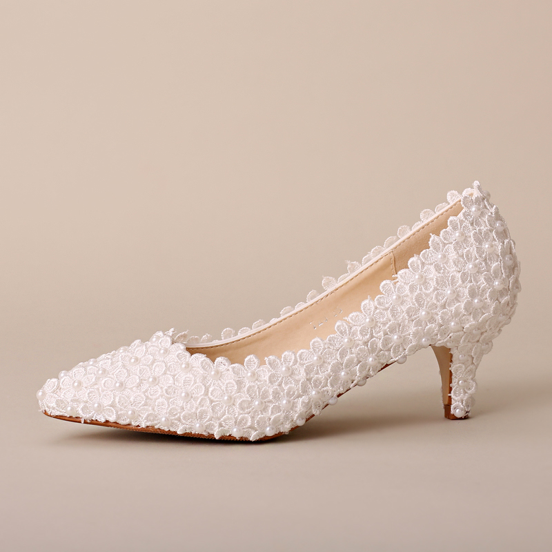 Aesthetic pearl flower bridal shoes pointed toe thin heels shoes women's single pumps wedding shoes free shipping